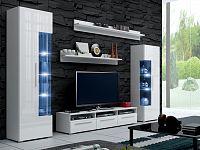 Smartshop Obývací stěna ROMA I s LED osvětlením, bílá/bílý lesk