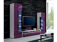 Smartshop Obývací stěna ROMA II s LED osvětlením, bílá/fialový lesk