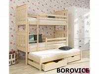 Smartshop Patrová postel s přistýlkou JAREK 90x190 cm, masiv borovice/barva:..