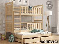 Smartshop Patrová postel s přistýlkou KLARA 90x190 cm, masiv borovice/barva:..