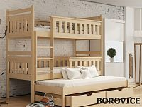 Smartshop Patrová postel s přistýlkou KORS 90x200 cm, masiv borovice/barva:..