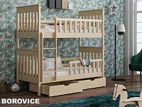 Smartshop Patrová postel s rošty a úložnými prostory OLIWIER 90x200 cm, masiv borovice/barva: ...