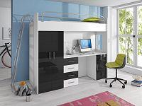 Smartshop Patrová postel se skříní a psacím stolem RAJ 4D, bílá/černá