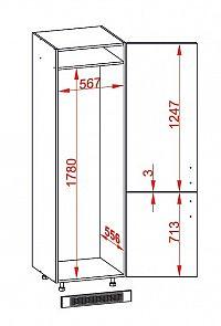 Smartshop PESEN 2 skříň na lednici DL60/207 pravá, korpus šedá grenola, dvířka dub sonoma hnědý
