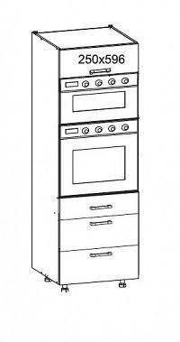 Smartshop PLATE vysoká skříň DPS60/207 SAMBOX O, korpus šedá grenola, dvířka dub bělený