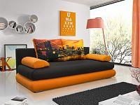 Smartshop Pohovka IBERIS 2, černá látka/oranžová látka/New York