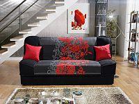 Smartshop Pohovka KLAUDIA 1, látka květy červené