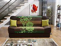 Smartshop Pohovka KLAUDIA 3, látka květy zelené