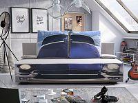Smartshop Pohovka OLGA 5, šedá látka/látka potisk Auto modré