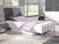 Smartshop Postel 90x200 cm RAJ 3, bílá/šedý lesk