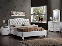 Smartshop POTENZA, postel 160x200 cm, bílá ekokůže