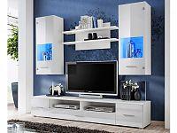 Smartshop RENO, obývací stěna, bílá/bílý lesk