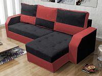 Smartshop Rohová sedačka ARO, černá látka/červená látka
