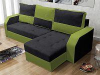 Smartshop Rohová sedačka ARO, černá látka/zelená látka