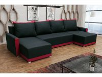 Smartshop Rohová sedačka BRAGA U, černá látka/červená látka