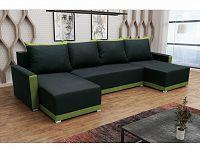Smartshop Rohová sedačka BRAGA U, černá látka/zelená látka