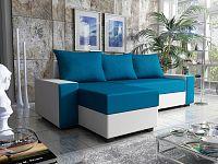 Smartshop Rohová sedačka FIESTA 2, modrá látka/bílá ekokůže