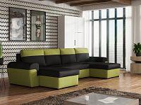 Smartshop Rohová sedačka FILO U, černá látka/zelená látka