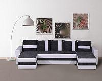 Smartshop Rohová sedačka FUGAZI, černá/bílá ekokůže