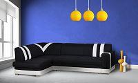 Smartshop Rohová sedačka KONGO levá, látka černá/bílá ekokůže