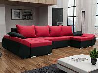 Smartshop Rohová sedačka KORFU U, červená látka/černá látka