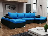 Smartshop Rohová sedačka KORFU U, modrá látka/černá látka