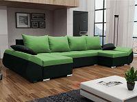 Smartshop Rohová sedačka KORFU U, zelená látka/černá látka