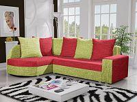 Smartshop Rohová sedačka LIZBONA 6 levá, červená/zelená