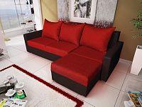 Smartshop Rohová sedačka MALAGA BIS 1, červená látka/černá ekokůže