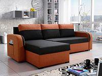 Smartshop Rohová sedačka MARIO 1, černá látka/oranžová látka