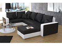 Smartshop Rohová sedačka PALO 2, černá látka/bílá ekokůže