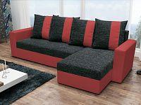 Smartshop Rohová sedačka PRAGA, černá látka/červená ekokůže