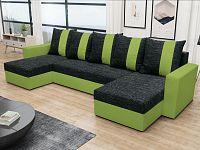 Smartshop Rohová sedačka PRAGA U, černá látka/zelená látka