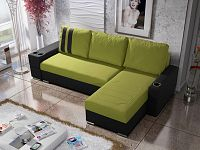 Smartshop Rohová sedačka ROY 5-246 pravá, zelená látka/černá ekokůže