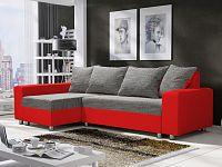 Smartshop Rohová sedačka SEUL 1, šedá látka/červená ekokůže