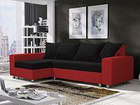 Smartshop Rohová sedačka SEUL 4, černá látka/červená ekokůže