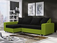 Smartshop Rohová sedačka SEUL 6, černá látka/zelená látka