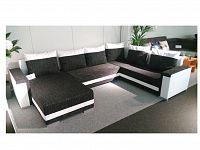 Smartshop Rohová sedačka TUNNIS 1, univerzální, černá látka/bílá ekokůže