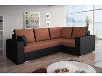 Smartshop Rohová sedačka VALERIO BIS 5 pravá, oranžová látka/černá ekokůže