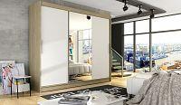Smartshop Šatní skříň ASTON I, dub sonoma/bílý mat/zrcadlo