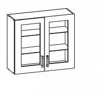 Smartshop TOP LINE horní skříňka G80/72 vitrína, korpus šedá grenola, dvířka bílý lesk