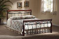Smartshop VENECJA, postel  160x200, masiv/kov, třešeň antická/ černá