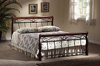 Smartshop VENECJA, postel 180x200 cm s roštem, masiv/kov, třešeň antická/ černá