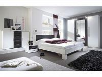 Smartshop VERA postel 180x200 cm s nočními stolky, bílá/ořech černý