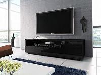 Televizní stolek RTV 2, černá/černá lesk