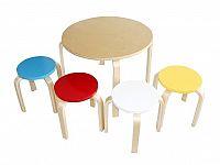 Tempo Kondela SIGRID dětský set 1+4, modrá/červená/bílá/žlutá