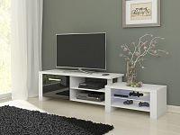 TV stolek ORION, bílá/černý lesk