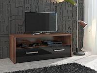TV stolek TIRANA, švestka wallis/černý lesk