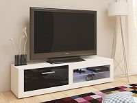 TV stolek VIKY NEW, bílá/černý lesk