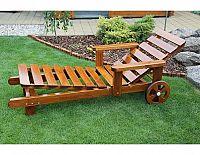 Zahradní polohovací lehátko, bez povrchové úpravy